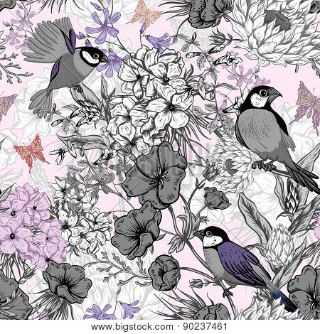 Retro Summer Seamless Monochrome Floral Pattern with Birds and Butterflies