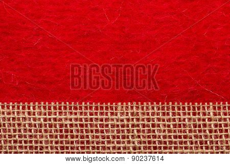 Jute Mesh Over Red Background