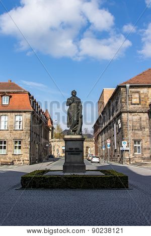 Bayreuth, Germany - April 22, 2015: Statue of Jean-Paul also known as Johann Paul Friedrich Richter who was a German Romantic writer and was best known for his humorous novels and stories