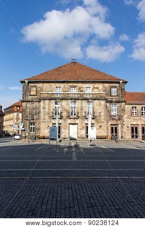Bayreuth, Germany - April 22, 2015: The town hall theater in Bayreuth is one of the most cultural buildings in the city and is located at Friedrichstraße / Ludwigstraße in the center of the city