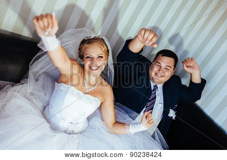 Wedding dance of charming bride and groom on their wedding celebration in a luxurious restaurant