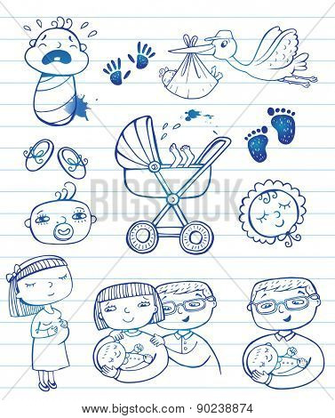 Set of hand-drawn doodle icons happy parents, stork and newborn accessories.
