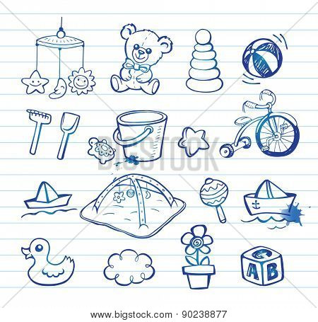 Set of hand-drawn doodle icons baby toys and accessories.