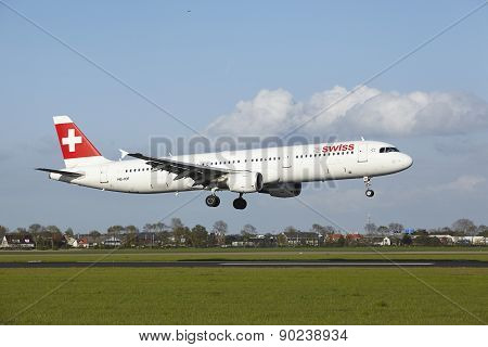 Amsterdam Airport Schiphol - A321 Of Swiss Lands