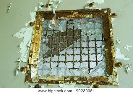 Broken Safety Glass In Door