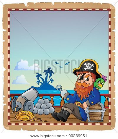 Parchment with pirate ship deck 7 - eps10 vector illustration.