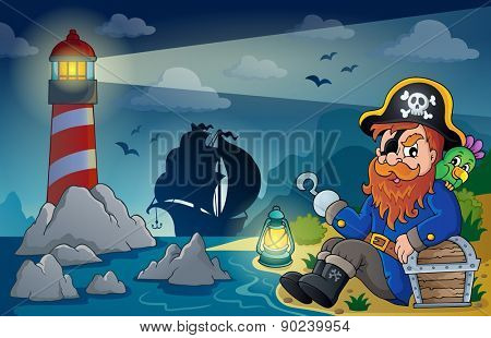 Lighthouse with pirate theme 5 - eps10 vector illustration.