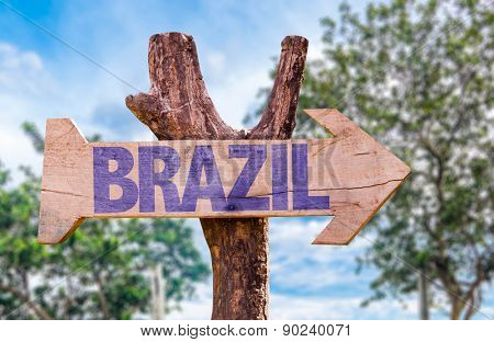 Brazil wooden sign with countryside background