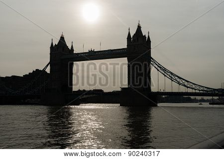 Tower Bridge Silhouette, Uk,england
