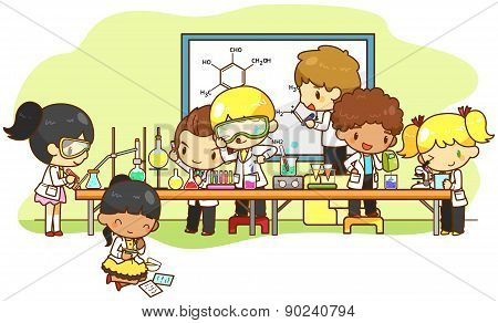 Children Are Studying And Working In The Laboratory, Create By Vector