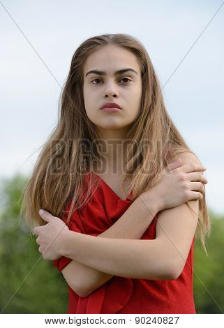 strong beauty, woman in red