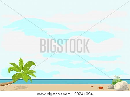 Summer vacation and travel. Palm tree and starfish on a sandy beach near the sea. Template booklet