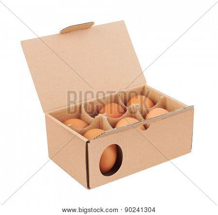 Cardboard box with eggs, isolated on white background