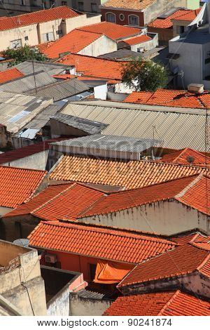 Red  roofs of homes in Sorocaba Brazil