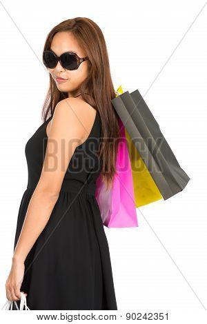 Asian Shopper Rear Looking Over Shoulder Half