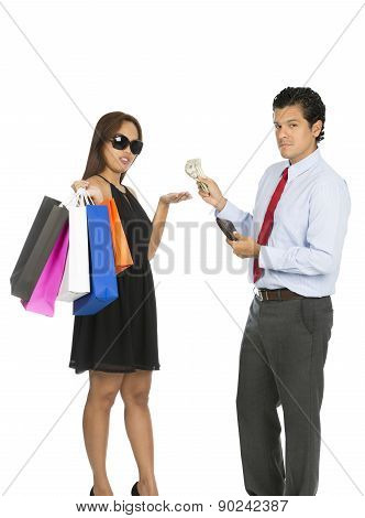 Asian Woman Shopper Accepting Money Husband At V