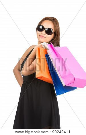Shopping Asian Woman Colorful Bags At Camera V