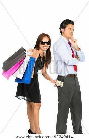Shopping Smiling Female Removing Money Husband V