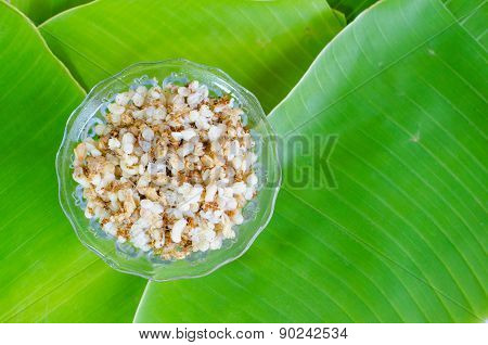 Red Ant Egg On Banana Leaf.ant Eggs Are Foods That Have Been Popular Among People In Thailand.