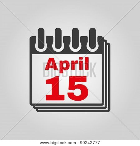 The Calendar 15 April Icon. Tax Day