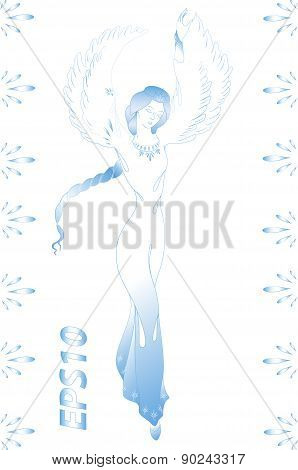 The girl who is transformed into a swan.EPS10 vector illustration