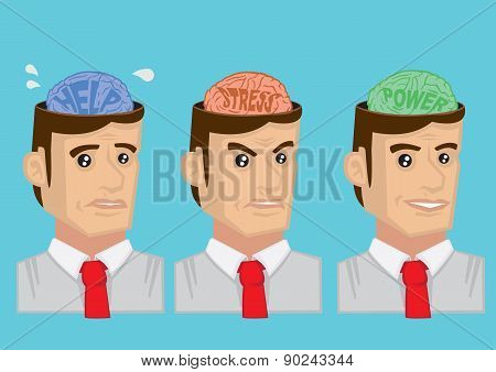 Human Brain And Emotional States Cartoon Vector Illustration