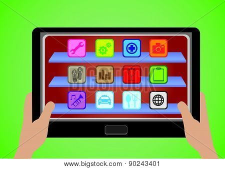 Tablet Computer With Applications Icons