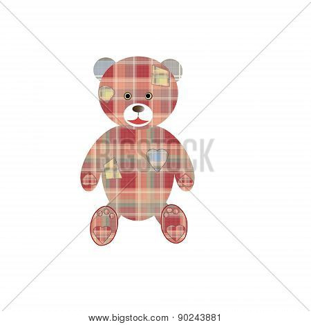 Applique teddy bear on white