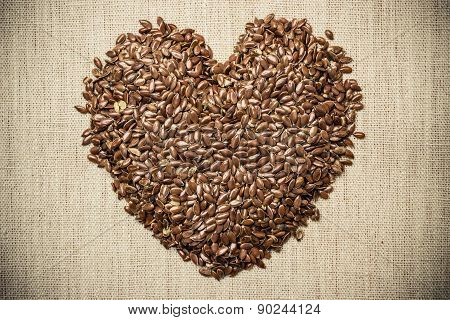 Raw Flax Seeds Linseed Heart Shaped