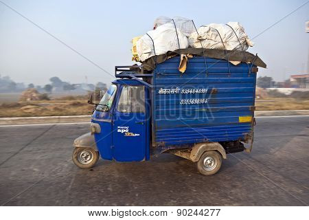 Cargo Rickshaw On The Highway