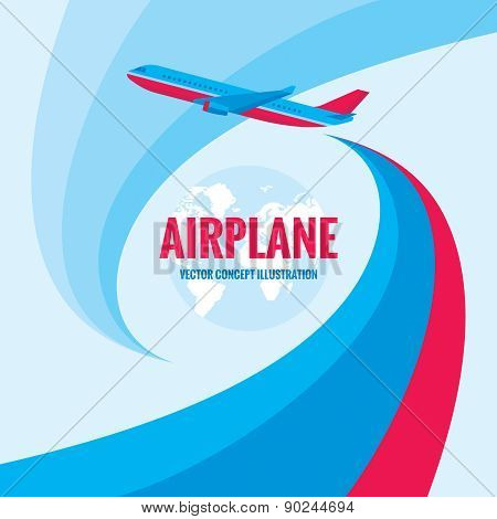 Airplane - vector concept illustration with abstract background.