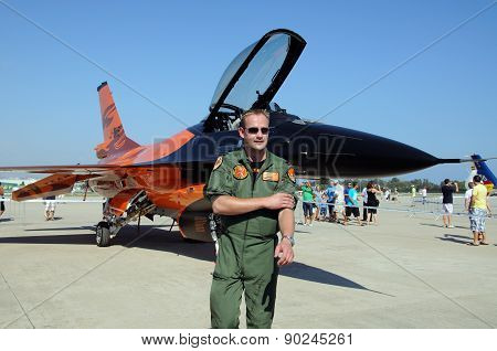 General Dynamics F-16 Fighting Falcon and pilot.