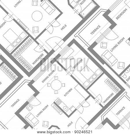 Vector  furniture architect plan background Flat Design