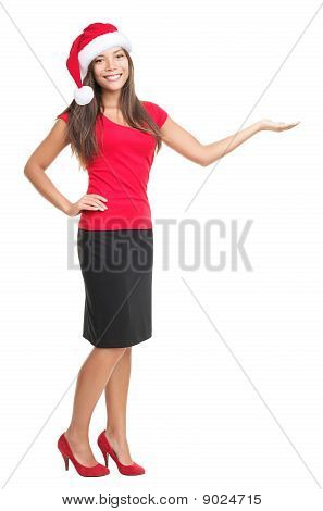 Christmas Woman Showing Copyspace Isolated