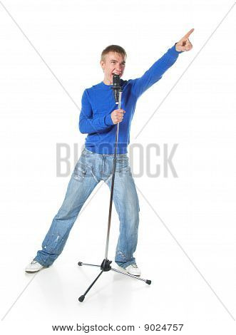 A Young Man Singing