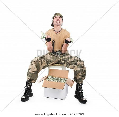 The Guy In A Camouflage And With A Box Of Money