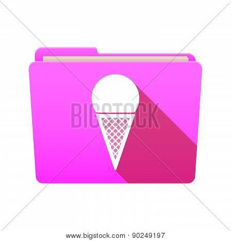 Folder Icon With A Cone Ice Cream