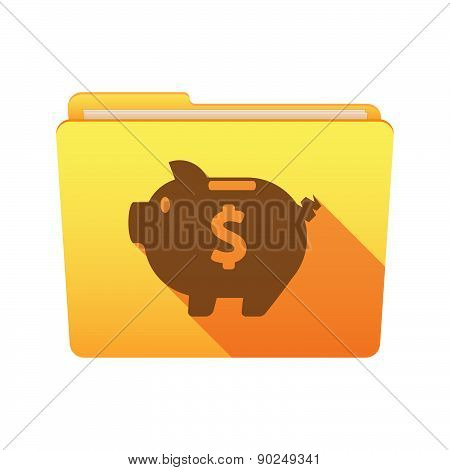 Folder Icon With A Piggy Bank