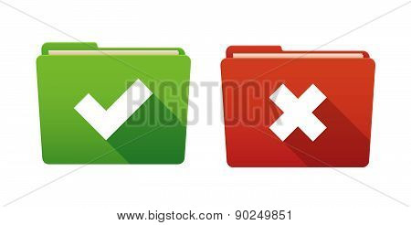 Folder Icon Set With Survey Signs
