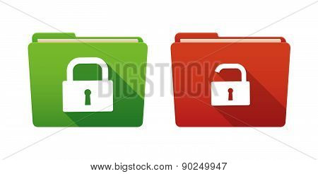 Folder Icon Set With Lock Pads