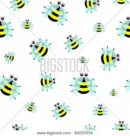 Seamless pattern of dotted bugs