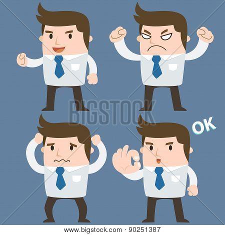 Businessman cartoon emotion