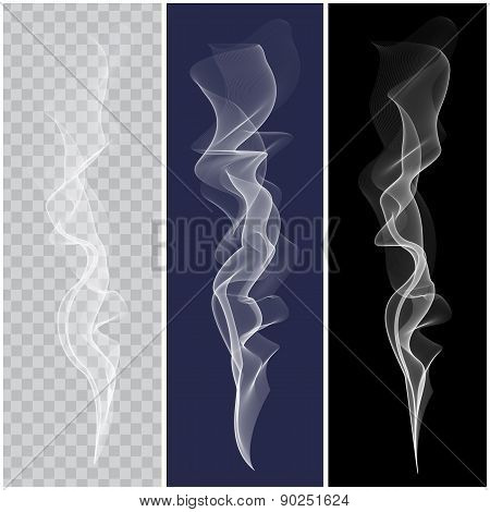 Set of realistic white smoke. Vector