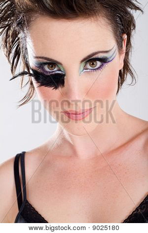 headshot of fashion model