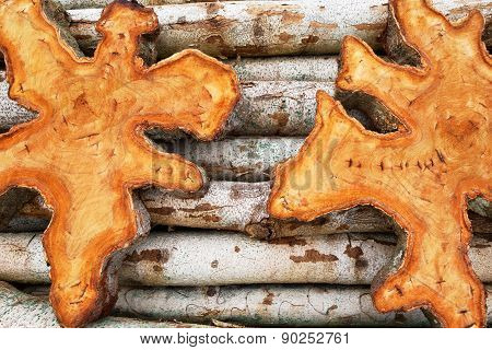 Natural Tropical Teak Wood Logs Background