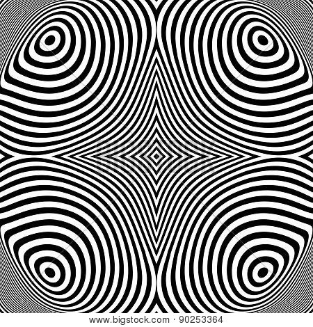 Design Monochrome Ellipse Movement Illusion Background