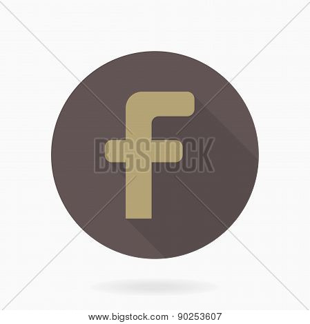 Letter F  Icon With Flat Design