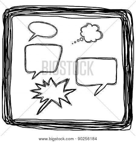 Hand Drawn Bubble Balloon Speech In Square Lines, Llustration Vector
