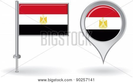 Egyptian pin icon and map pointer flag. Vector
