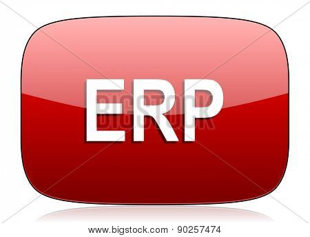 erp red glossy web icon